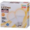 LED電球 30形相当 E26 電球色 2個入 [品番]06-3149