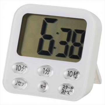 時計付き大画面 デジタルタイマー ホワイト [品番]07-9356