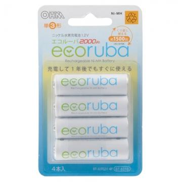 充電式電池 エコルーバ 単3×4本入 [品番]07-6310
