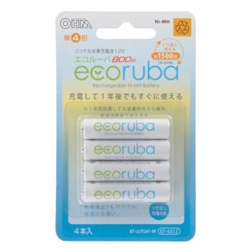 充電式電池 エコルーバ 単4×4本入 [品番]07-6312