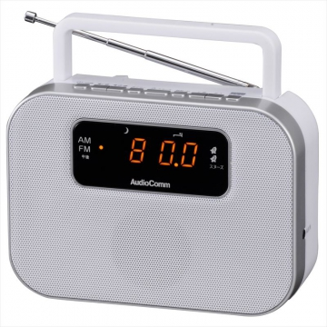 デジタルクロックラジオ ホワイト [品番]07-9724
