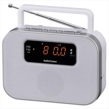 AudioComm デジタルクロックラジオ ホワイト [品番]07-9724