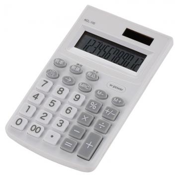 カラー ハンディ電卓 12桁 ホワイト [品番]07-9909