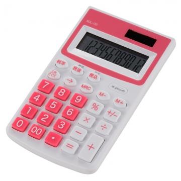 カラー ハンディ電卓 12桁 ピンク [品番]07-9910