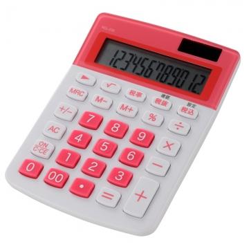 カラー 小型電卓 12桁 ピンク [品番]07-9914