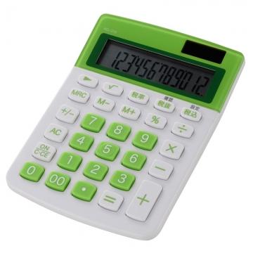 カラー 小型電卓 12桁 グリーン [品番]07-9915