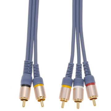ビデオ接続コード ピンプラグ×2-ピンプラグ×3 1m [品番]01-7567