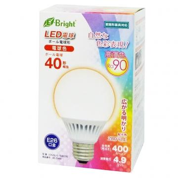 LED電球 ボール電球形 40形相当 E26 電球色 [品番]06-2989