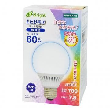 LED電球 ボール形 60W相当 E26 昼白色 [品番]06-2992