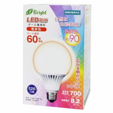 LED電球 ボール電球形 60W形相当 E26 電球色 [品番]06-2993