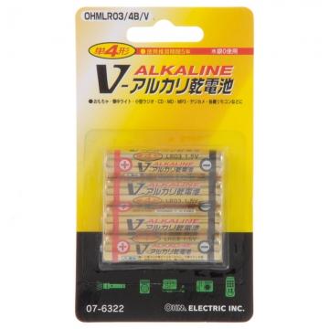 アルカリ乾電池 Vシリーズ 単4形×4本パック [品番]07-6322