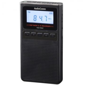 AudioComm 録音機能付きラジオ ブラック [品番]07-8370