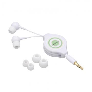 AudioComm ステレオイヤホン 巻取型 カナルタイプ ホワイト [品番]03-2751