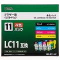 ブラザー LC11-4P互換 4色(顔料ブラック+染料3色)パック [品番]01-2997