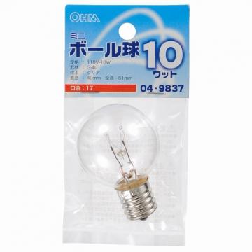 ミニボール球 G40 E17/10W クリア [品番]04-9837