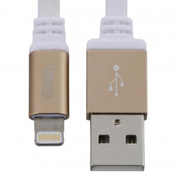 AudioComm ライトニングケーブル フラットタイプ 1m ゴールド [品番]01-7043