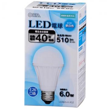 LED電球 40W相当 E26 昼白色 密閉器具対応 [品番]06-3002
