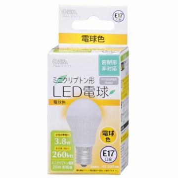 LED電球 ミニクリプトン形 25W相当 E17 電球色 [品番]06-3017