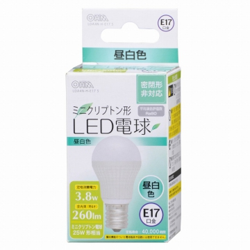 LED電球 ミニクリプトン形 E17 25形相当 昼白色 [品番]06-3018