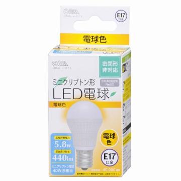 LED電球 ミニクリプトン形 40W形相当 E17 電球色 [品番]06-3019