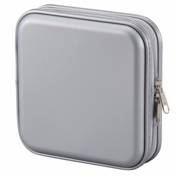 CD/DVDセミハードケース 24枚収納 シルバー [品番]01-2396