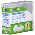 CD&DVDケース スタンダードタイプ 厚さ10mm 5個パック クリア [品番]01-3275