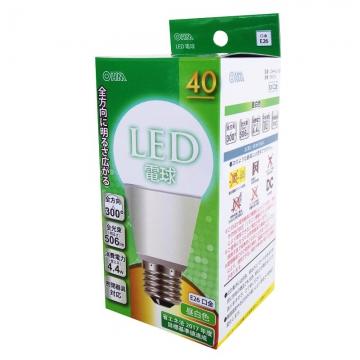 LED電球 40形相当 E26 昼白色 全方向 密閉器具対応 [品番]06-0216