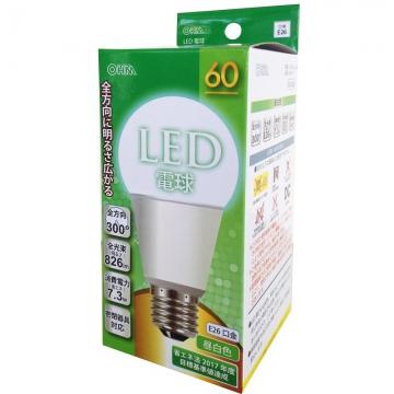 LED電球 60形相当 E26 昼白色 全方向 密閉器具対応 [品番]06-0219