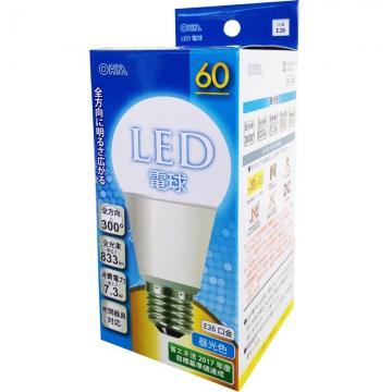 LED電球 60形相当 E26 昼光色 全方向 密閉器具対応 [品番]06-0220