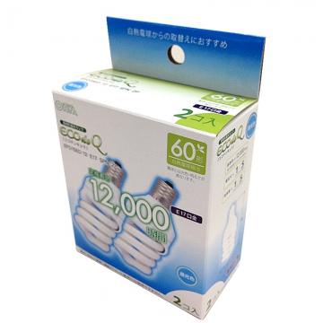電球形蛍光灯 スパイラル形 E17 60形相当 昼光色 エコデンキュウ 2個入 [品番]06-0248