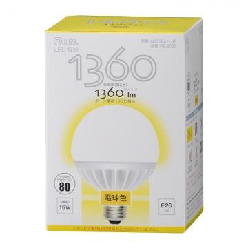 LED電球 ボール形 100W相当 E26 電球色 [品番]06-3095
