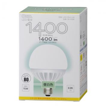 LED電球 ボール形 100W相当 E26 昼白色 [品番]06-3096