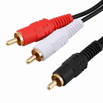 オーディオ接続コード ピンプラグ×1-ピンプラグ×2 3m [品番]01-5112
