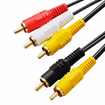 ビデオ接続コード ピンプラグ×3-ピンプラグ×2 1m [品番]01-5121