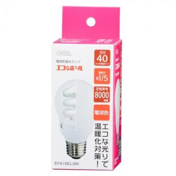 電球形蛍光灯 E26 40形相当 電球色 エコなボール [品番]04-1496