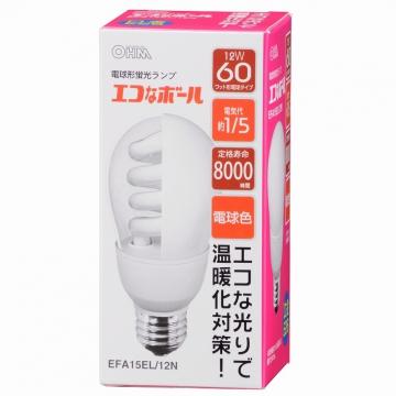 電球形蛍光灯 E26 60形相当 電球色 エコなボール [品番]04-5420