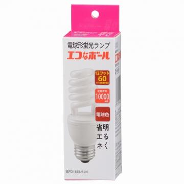 電球形蛍光灯 スパイラル形 E26 60形相当 電球色 エコなボール [品番]04-5450