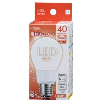 LED電球 40W相当 E26 電球色 全方向 密閉器具対応 [品番]06-0209