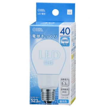 LED電球 一般電球形 40形相当 E26 昼光色 [品番]06-0211
