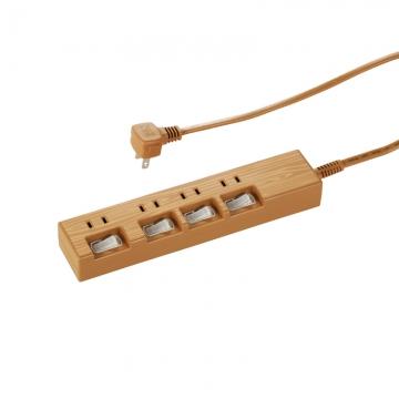 電源タップ 個別スイッチ付 木目調 4個口 2m [品番]00-1443