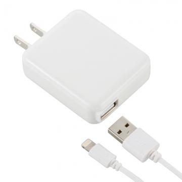 AudioComm AC充電器+ライトニングケーブル 1A 1m ホワイト [品番]01-7045