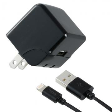 AudioComm AC充電器+ライトニングケーブル 2.4A 1m ブラック [品番]01-7048