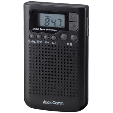 DSP FMステレオ/AM ポケットラジオ ブラック [品番]07-8554