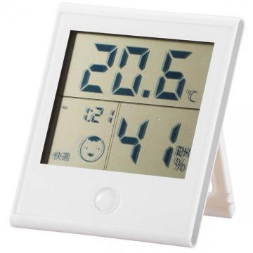 時計付き温湿度計 ホワイト [品番]08-0020