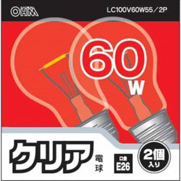 白熱球 E26/60W クリア 2個入 [品番]06-1759