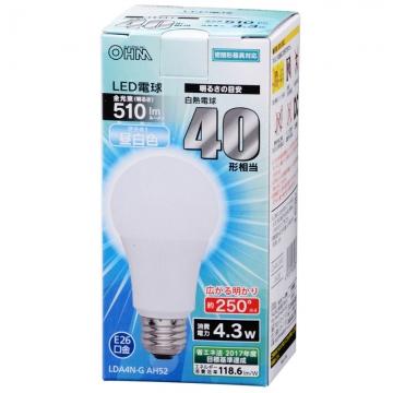 LED電球 40形相当 E26 昼白色 広配光 密閉器具対応 [品番]06-3283
