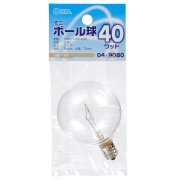 ミニボール球 G-50 E12/40W クリア [品番]04-9080