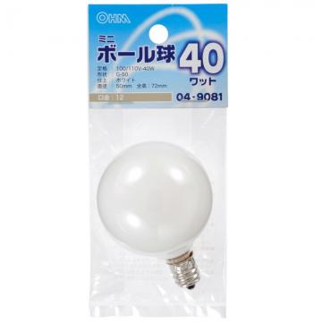 ミニボール球 G-50 E12/40W ホワイト [品番]04-9081