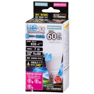LED電球 ミニクリプトン形 60W形相当 E17 昼白色 防雨タイプ [品番]06-3268
