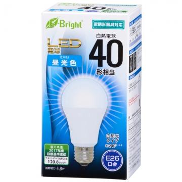 LED電球 40W形相当 E26 昼光色 広配光 密閉器具対応 [品番]06-3365